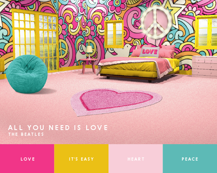 All you need is love Beatles song inspired interior design