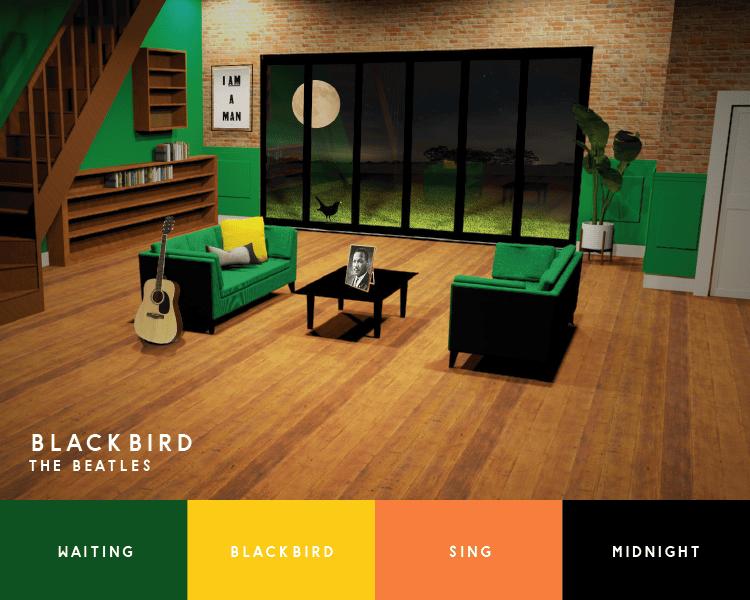 Blackbird Beatles song inspired interior design