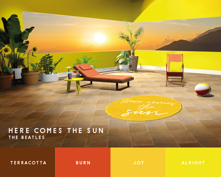 """Illustration of sun terrace inspired by the Beatles' """"Here Comes the Sun"""""""