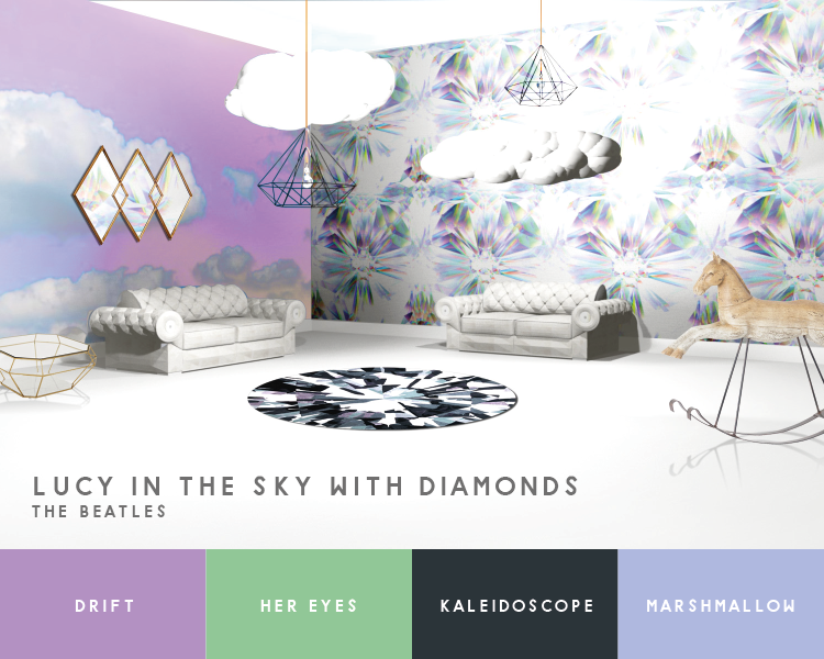 """Illustration of living room inspired by the Beatles song """"Lucy in the Sky with Diamonds"""""""