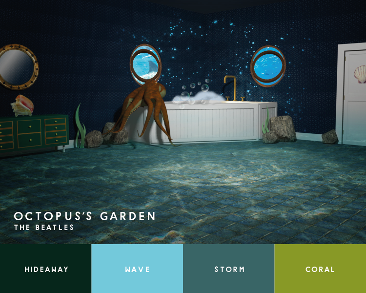 Illustration of bathroom inspired by the Beatles' Octopus's Garden