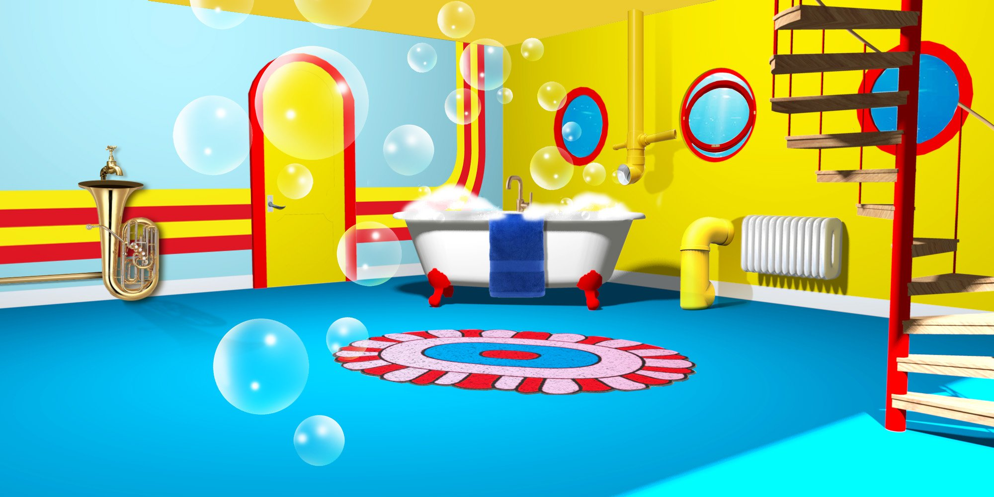 Featured Image - bathroom inspired by the Beatles' Yellow Submarine