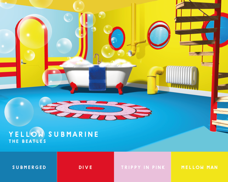 """Illustration of bathroom inspired by the Beatles' """"Yellow Sumbarine"""""""