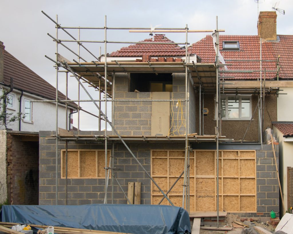 scaffolding at home building site